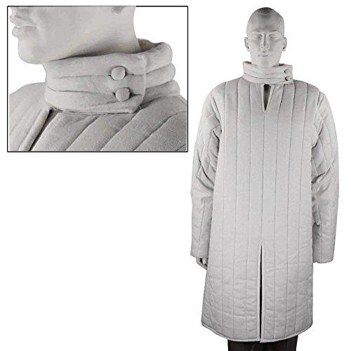 Medieval thick padded White Gambeson with Removable Full Sleeves Jacket
